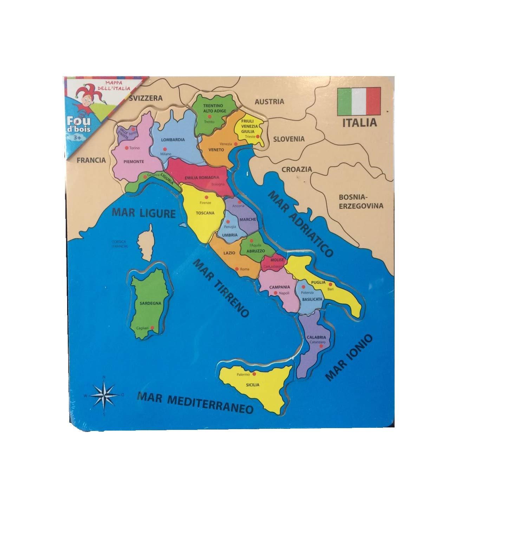 Cartina Geografica Dell Italia Per Bambini.Cp Puzzle In Legno Cartina Geografica Italia In Legno