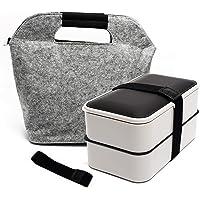 Fun Life Boîte à Lunch 1200ml, Boîte à bento Boîte à Lunch à Deux Compartiments hermétique avec Couverts réutilisables…