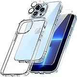 TOCOL Funda Compatible con iPhone 13 Pro 5G, 2 Piezas Protector de Pantalla 2 Piezas Lente de cámara Vidrio Templado Carcasa