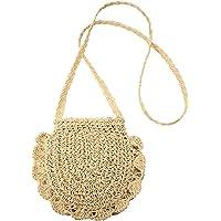 JOSEKO Stroh Crossbody Tasche, Damen Umhängetasche Sommer Strand Vintage Handarbeit Einkaufstasche Woven Handtasche…