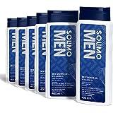 Marca Amazon - Solimo Gel de ducha para hombre con aceite de almendra- Paquete de 6 (6 Botellas x 400 ml)