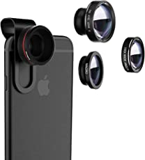 VTIN 3 in 1 Fisheye Objektiv Clip On Handy Objektiv Linse Fischauge (180°Fisheye Objektiv, 0.65X Weitwinkelobjektiv, 10X Makroobjektiv) Kamera Objektiv Set für iPhone und die meisten Smartphone