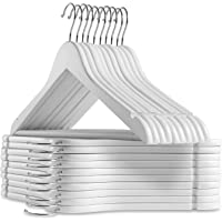 OM KRAFT SALEs - 24 Wooden Suit Hangers - Premium Wood with Notches & Chrome Swivel Hook for Dress Clothes, Coats, Jackets, Pants, Shirts, Skirts,Jacket,Dress (WHITE)
