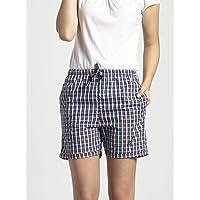 Jockey Women's Cotton Shorts (RX15_Classic Navy Assorted Checks_M)