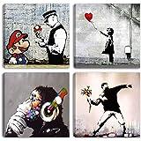 Degona - Cuadros modernos Banksy - 4 unidades de 30 x 30 cm cada una Impreso sobre lienzo, arte abstracto, XXL, para decorar