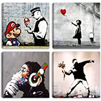 Degona Moderne Bilder Banksy 4 Stück 30 x 30 cm Druck auf Leinwand Möbel abstrakte Kunst XXL Dekor für Wohnzimmer…