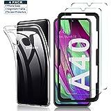 Yocktec Hülle + Panzerfolie Displayschutzfolie für Samsung Galaxy A40, 9H Gehärtetes Glas Folie mit Transparent…