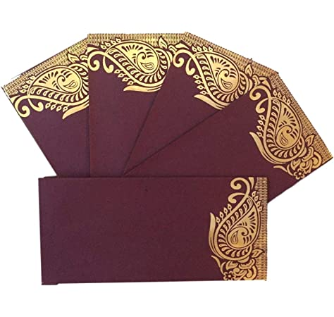 3 X Exclusive Money Wallets Salami EID Cash Brown Gold Envelopes Indian Wedding
