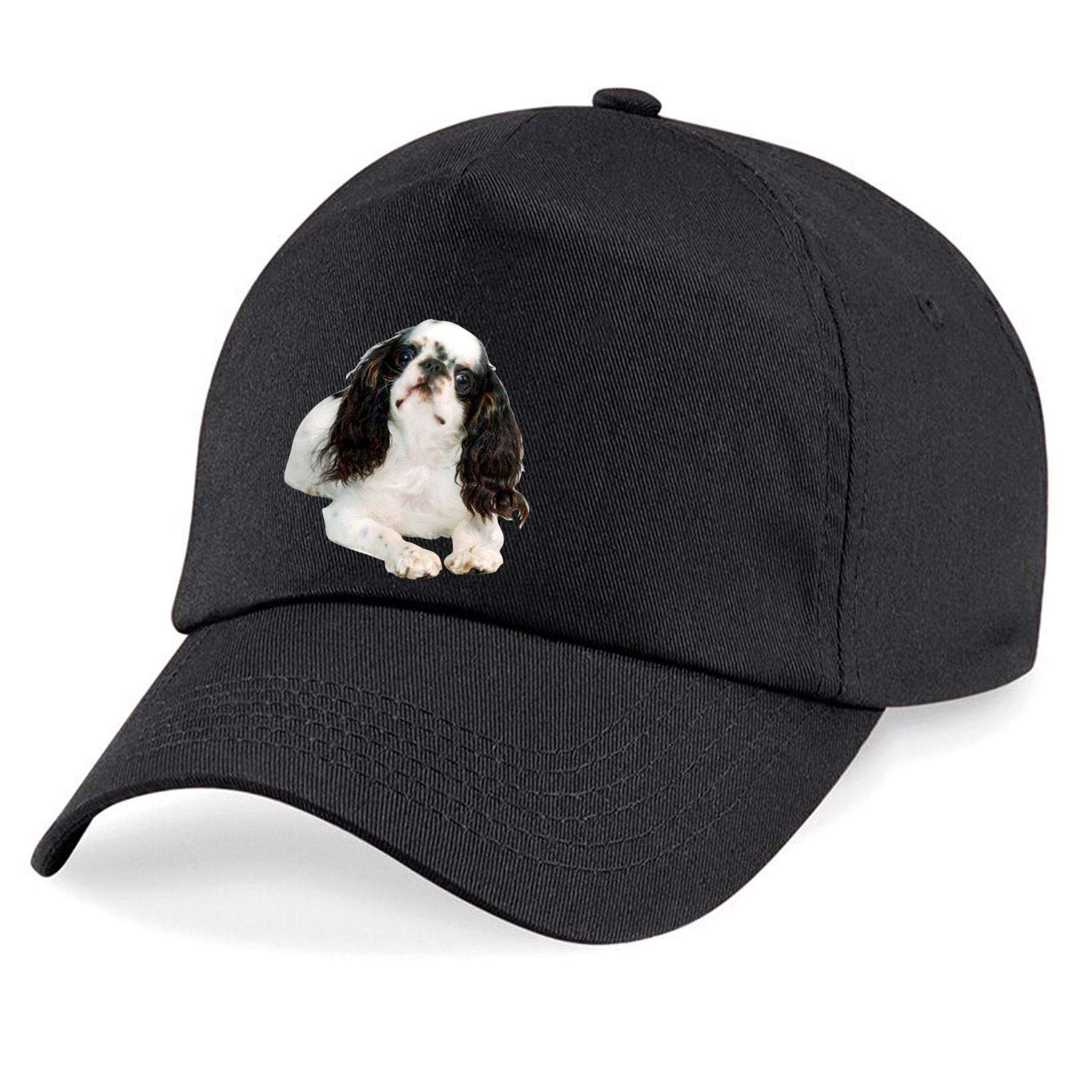 Taurus Clothing English Toy Spaniel Dog Personalised Embroidered Cap Black