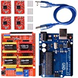 REES52 GRBL CNC Shield Expansion Board V3.0 +UNO R3 Board + A4988 Stepper Motor Driver With Heatsink for Arduino Kits (Arduin