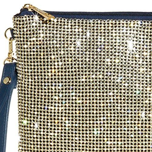 CASPAR TA348 Damen elegante XL Clutch Tasche Abendtasche mit Glitzer Strass und Handschlaufe Dunkelblau
