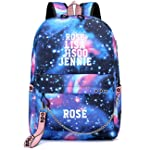 BLACKPINK Roseanne Park LISA Jin Zhixiu with Star Backpack backpack Korean USB charging bag (ROSE-Star Blue USB10)