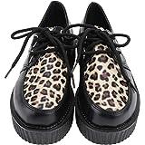 Holibanna Creepers Leopardate da Donna in Pelle Pu con Lacci Moda Punta Tonda Scarpe con Zeppa Robusta per Scarpe da Donna pe