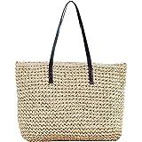 Faletony Sommer Stroh Strandtasche Groß Umhängetasche Shopper Handtasche Crossbody Strohtasche für Damen Mädchen Frau, Kaffee