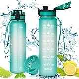 flintronic Sportwaterfles 1000ml, lekvrije gymfles, BPA-vrije Tritan kunststof milieuvriendelijke drinkflessen met filter & t