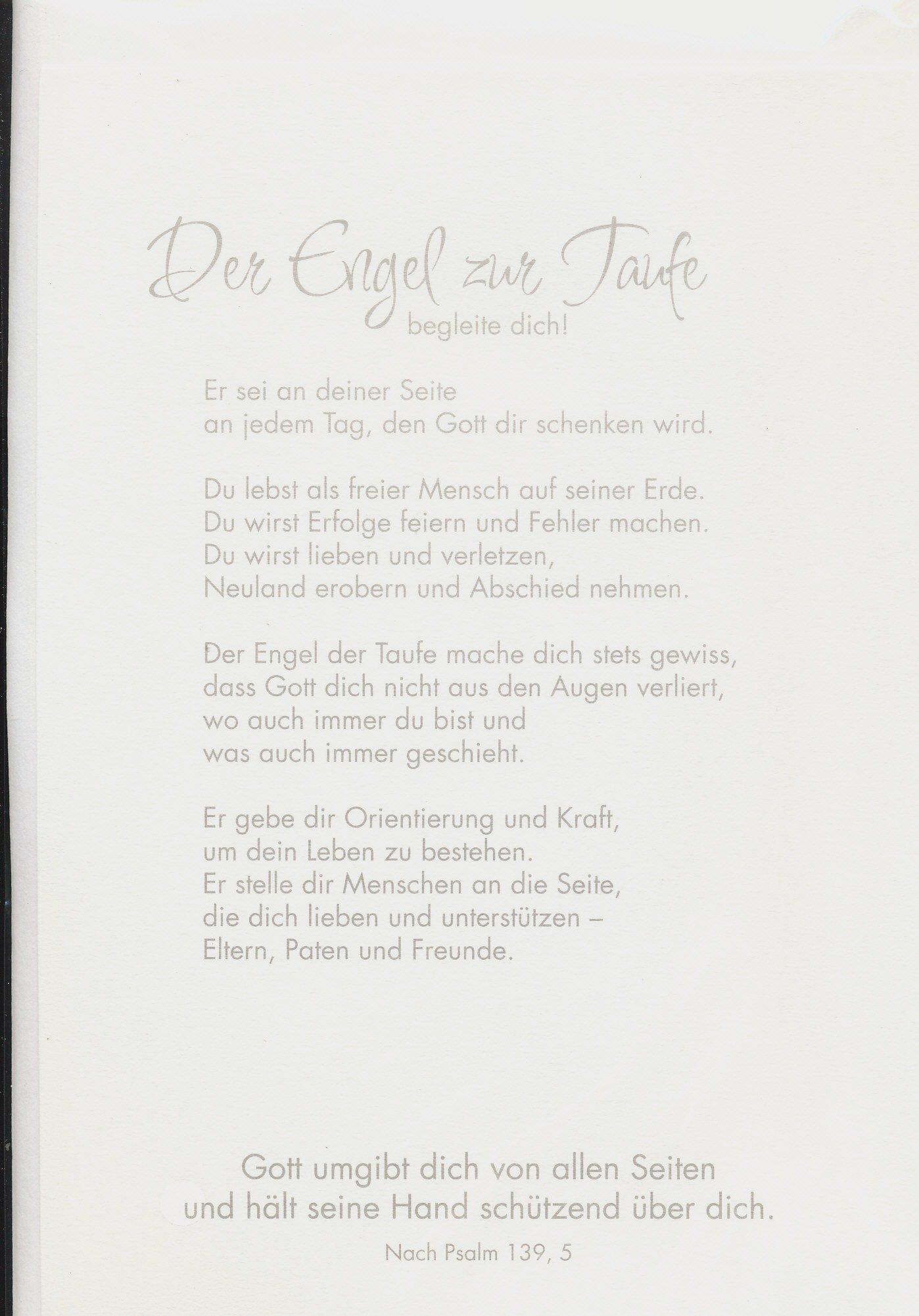 Spruch Zur Taufe Karte.Zur Taufe Dein Engel Zur Taufe Mit Spruch Und Feinem Schutzengel