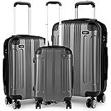 """Kono Ensemble de valises de 3 pièces, Valise en ABS léger, Valise 4 roulettes de Voyage 20"""" 24"""" 28"""" (Gris)"""