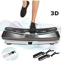 ANCHEER 2 Motoren 3D Vibrationsplatte für Body Shape Muskelaufbau, Power Fitness Vibrationstrainer mit Trainingsbändern…