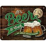 Nostalgic-Art 26214 Plaque Vintage Beer O' Clock Glasses – Idée de Cadeau pour Les Fans de bière, en métal, Design Retro pour