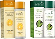 Biotique Bio Sandalwood Sunscreen Ultra Soothing Face Lotion, SPF 50+, 120ml and Biotique Bio Morning Nectar Sunscreen Ultra Soothing Face Lotion, SPF 30+, 120ml