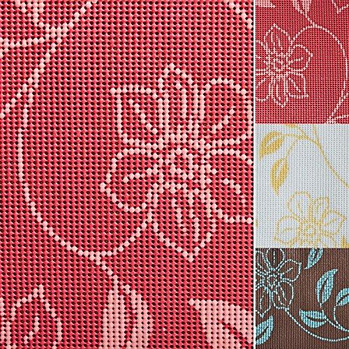 casa pura® Tischdecke Bianca | Rot mit verspieltem Blumenmuster | Weichschaum für Garten und Balkon | rechteckig 130 cm x 160 cm