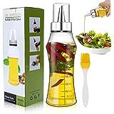Familybox Botella de Aceite, 400ML Escala Dispensador de Aceite y Vinagre con Pico de Acero Inoxi y Cepillo Aceite de Oliva V
