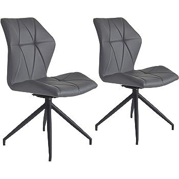 CAVADORE Stuhl 2er Set Indira / 2X Esszimmerstühle 360° Drehbar / 2  Gepolsterte Stühle In Modernem Design/Bezug Kunstleder Grau/Gestell Metall  ...