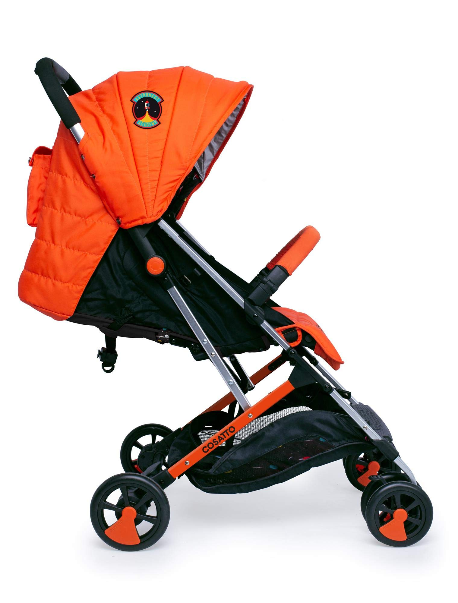 Cosatto Woosh 2 Stroller Spaceman with raincover and Bumper bar Birth to 25kg Cosatto INCLUDES: The pushchair itself, Raincover, Bumper bar,4 year guarantee(UK and Ireland only) Suitable from birth to max weight of 25kg. Lets your toddler use it for even longer. Lightweight, sturdy aluminium frame. Newborn recline. Lightweight waterproof Ripstop fabric on seat. Lockable swivel front wheels for quick manoeuvres Roomy seat for extra comfort. Removable bumper bar for extra support. Magic bell. Front & rear suspension for a smooth ride. 2