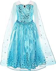 ReliBeauty Mädchen Kleid Prinzessin ELSA Eiskönigin Langarm Falten Pailletten Schneeflocken Kostüm