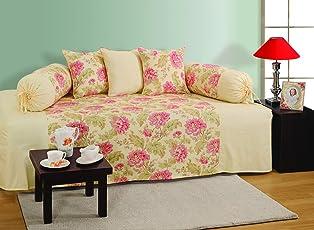 Swayam Printed 200 TC Cotton 6 Piece Diwan Set - Multicolour