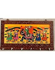 Fashion Bizz Wooden Rajasthani Art Work 6 Hook Hanging Key Holder - Brown