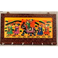 Fashion Bizz Wooden Rajasthani Art Work 6 Hook Hanging Key Holder - Brown