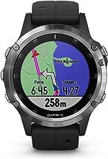 Fenix 5 Plus Smartwatch Multisport con Mappe GPS, Musica e Pagamento Contactless, Glass 47 mm, Silver con Cinturino Nero