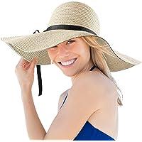 Donna Cappello da Sole, Tesa Larga Elegante Cappello, Protezione UV Paglia da Cappello della, Cappello da Spiaggia…