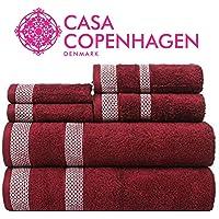 Casa Copenhagen - 500 GSM Cotton Solitaire 6 Pcs Towel Set - Beet Red (2 King Size Bath Towel (75x150cm), 2 Hand Towels (40x60cm), 2 Face Towels(30x30cm)