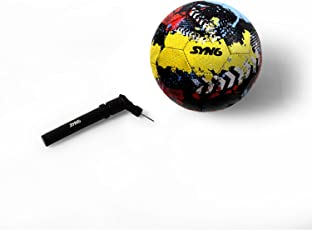 SYN6 Football, Street Soccer Ball with Pump, Made with Recycled tyre, Excellent for Concret and Hard Grounds