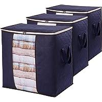 Lifewit 3 Packs Sac de Rangement pour Vêtements de Grande Capacité avec Poignée Renforcée Tissu Amélioré pour Couettes…