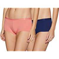 Amante Solid Low Rise Cotton Boyshorts Panty Pack (Pack of 2)