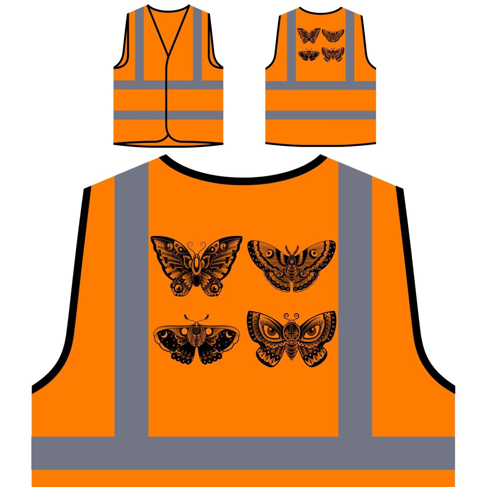 Nuovo Tatuaggio Della Farfalla Vecchia Scuola Personalizzato Hi Visibilità Giacca Gilet Arancione di