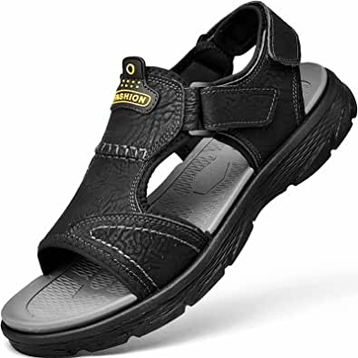 GILKUO Men's Spring Summer Velcro Open Leather Sandals