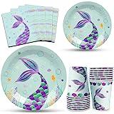 WERNNSAI Vajilla Sirena Fiesta - Conjunto de Suministros de Fiesta de Sirena Plato  Servilletas Tazas para Niña Cumpleaños B