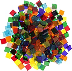 Segolike 250 Pieces Square Shape Mixed Color Clear Glass Mosaic Tiles Tessera for Mosaic Making Crafts Supplies 10x10mm