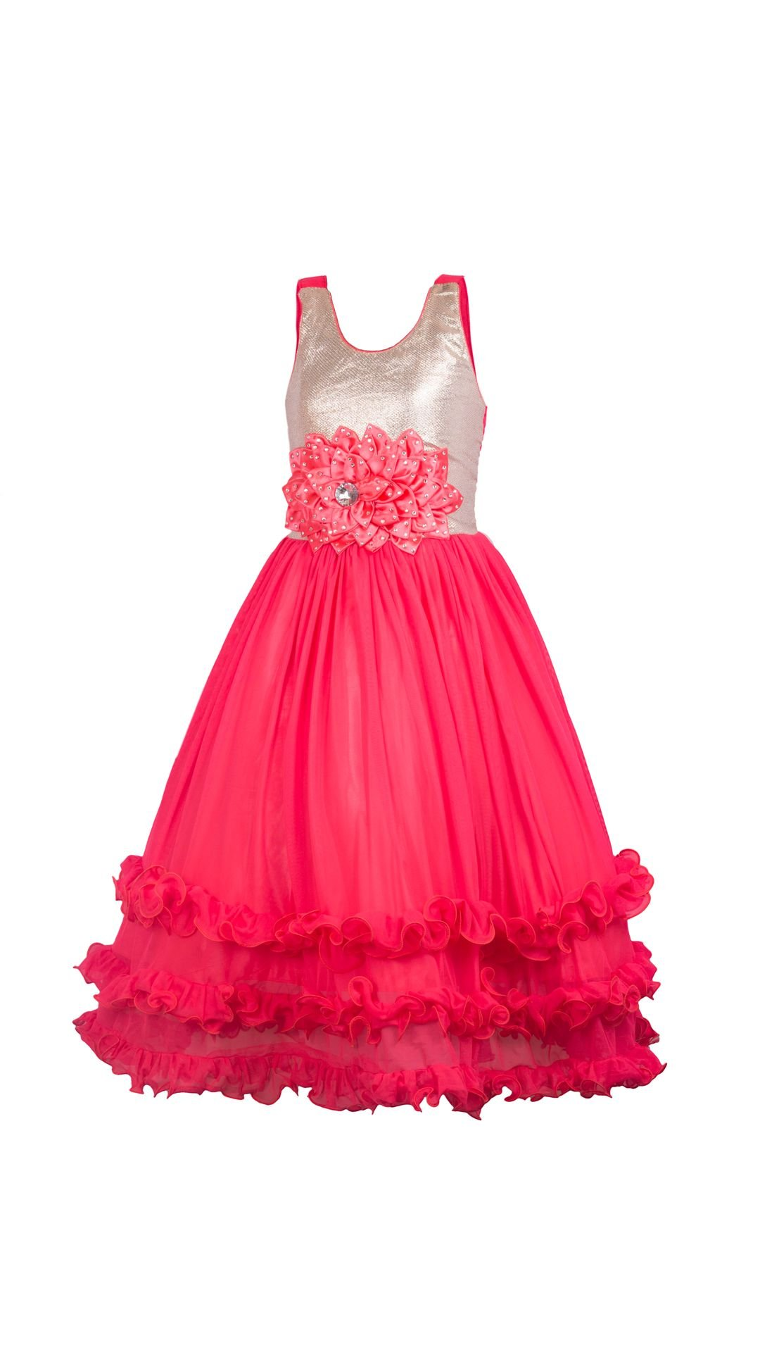 My Lil Princess Baby Girls Birthday Party wear Frock Dress_Ocean Red ...
