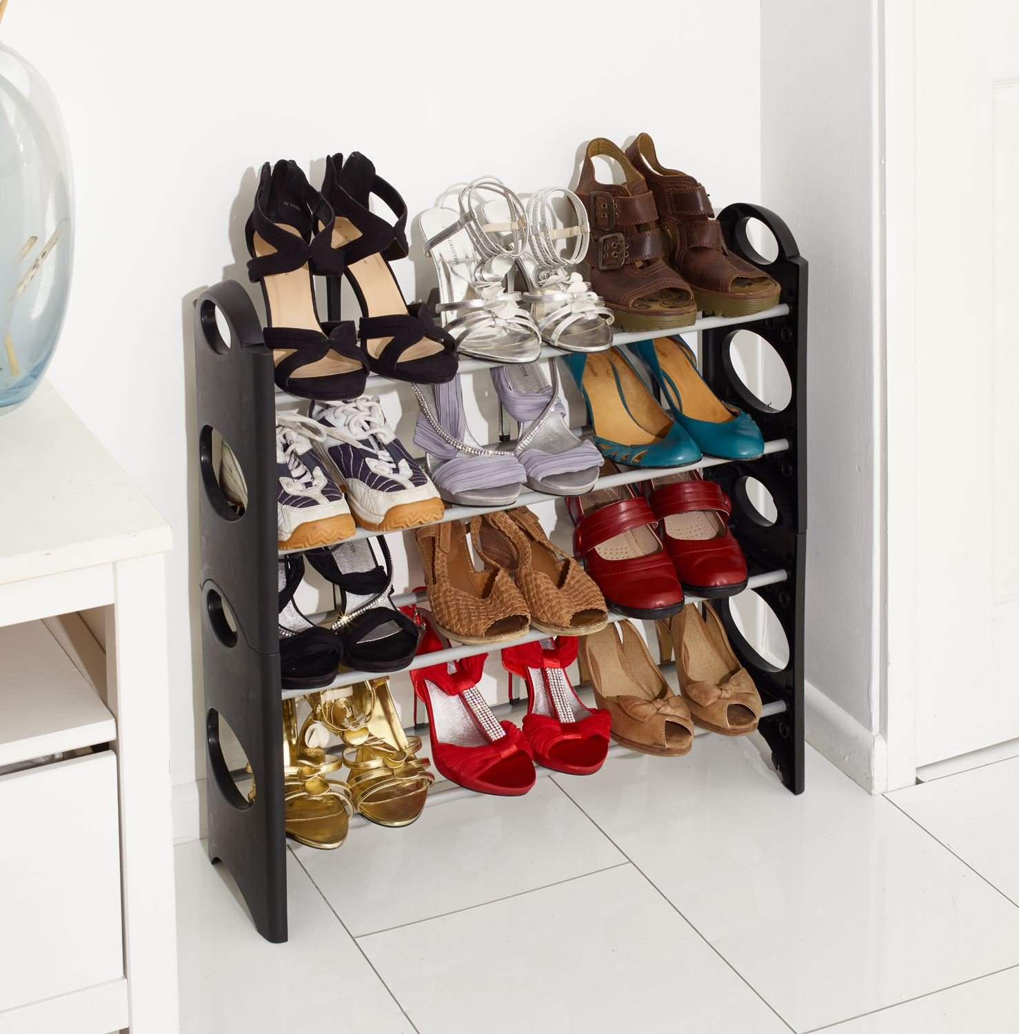 shoe furniture. vinsani 4 tier free standing shoe rack stand storage organiser shelf home furniture black amazoncouk kitchen u0026