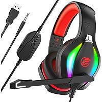Fachixy Casque Gaming pour PC, PS4, PS5, Xbox One, Switch, Casque Gamer avec Lumière RGB, Casque Micro à Réduction de…