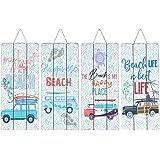 CAPRILO. Set de 4 Adornos Pared Decorativos de Madera Surf-Beach. Cuadros y Apliques. Decoración Hogar Marinera. Muebles Auxi