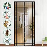 Cortina Magn/ética para Puerta Magnetica Corredera Cortina 100x190cm Velcro Adhesiva Puertas//para Pasillos Protecci/ón contra Insectos Negro