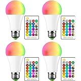 Cambia colore LED lampadine E27 dimmerabile, Frontoppy 15 W RGBW LED Lampadina con telecomando IR,5700 K bianco freddo e 16 c