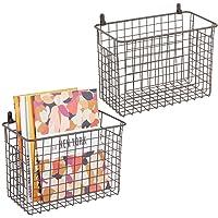 mDesign étagère murale métallique (lot de 2) – grand panier de rangement pour couloir, chambre, etc. – organiseur de…