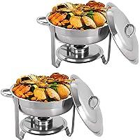 Display4top 3.5L Round Chafing Dish plat-réchaud,Ensemble de réchaud en acier inoxydable, ensemble de réchaud de…